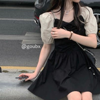 Dress Summer 2021 Dress 11132, top 11133 S,M,L Short skirt singleton  Short sleeve commute square neck High waist other Socket A-line skirt puff sleeve Others 18-24 years old Type A Korean version bow 11132+11133 other other