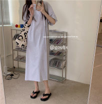 Dress Summer 2021 Light grey, dark grey, white Average size longuette singleton  Short sleeve commute Crew neck High waist Solid color Socket A-line skirt routine Others 18-24 years old Type A Korean version 31% (inclusive) - 50% (inclusive) other other