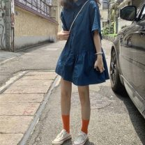 Dress Summer of 2019 Post and Telecommunications blue Average size Short skirt singleton  Short sleeve commute Polo collar Loose waist Single breasted Ruffle Skirt routine Others 18-24 years old Type A Korean version
