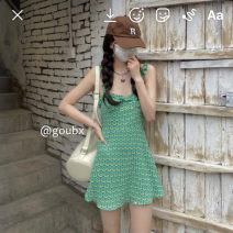 Dress Summer 2021 green S,M,L Short skirt singleton  Sleeveless commute V-neck High waist other Socket A-line skirt routine straps 18-24 years old Type A Korean version other other