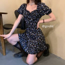 Dress Summer 2020 Picture color S,M,L,XL,2XL,3XL Short skirt singleton  Short sleeve commute square neck High waist Broken flowers Socket A-line skirt puff sleeve 18-24 years old Type A Retro Ruffles, lace up, print 30% and below other