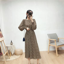 Dress Autumn 2020 Black, white, brown Average size Mid length dress singleton  Long sleeves commute Crew neck High waist Broken flowers Socket Big swing routine Others 18-24 years old Type A Korean version Fold, tie, print 71% (inclusive) - 80% (inclusive) Chiffon polyester fiber