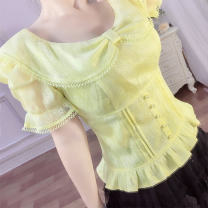 shirt Tender yellow, lilac S,M,L,XL,2XL,3XL Summer 2021 polyester fiber 96% and above Short sleeve Sweet Regular Crew neck puff sleeve Solid color Self cultivation Annabess 82021CB Bowknot, hollowed out, crochet, hollowed out, zipper, lace, bright silk, tuck, fold, button princess Lace