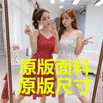 Dress Summer of 2019 White, red, black S,M,L,XL Middle-skirt singleton  Sweet V-neck Dot camisole Other / other 1021# princess