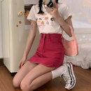 skirt Spring 2021 S. M, l, average size Purple skirt 8156, red skirt 8156, white skirt 8156, cartoon car white t2852, hamburger graffiti white t2853, black lace up top 3701 Short skirt Versatile High waist A-line skirt Solid color Type A