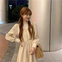 Dress Winter 2020 Black dress, apricot dress, coffee dress S,M,L longuette Fake two pieces commute