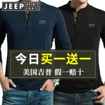 T-shirt Business gentleman routine M,L,XL,XXL,XXXL Jeep / Jeep Long sleeves Crew neck easy Other leisure spring Cotton 95% polyester 5% middle age routine American leisure other 2021 Solid color Embroidery cotton Brand logo Flocking International brands More than 95%