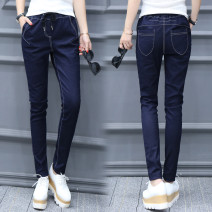 Jeans Winter 2016 Blue, the size is too big. It's suggested to buy a smaller size than usual S,M,L,XL,2XL trousers Natural waist Pencil pants routine 18-24 years old Multiple pockets Cotton elastic denim Dark color t1078