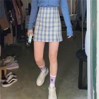 skirt Summer 2020 S,M,L Short skirt commute High waist A-line skirt lattice Type A 18-24 years old Miss muzi zipper Korean version