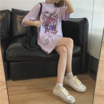 T-shirt Light purple, white Average size Spring 2021 Short sleeve Crew neck easy Medium length routine commute cotton 96% and above 18-24 years old Korean version youth Cartoon, cartoon, animal pattern, letter Miss muzi printing