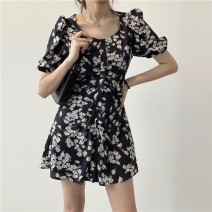 Dress Summer 2020 navy blue S,M,L Short skirt singleton  Short sleeve commute square neck High waist Broken flowers Single breasted A-line skirt puff sleeve 18-24 years old Type A Miss muzi Korean version zipper Chiffon