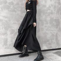 skirt Spring 2020 Average size black Mid length dress High waist Irregular Solid color More than 95% other other