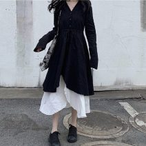 Dress Autumn of 2019 Black and white contrast Average size Mid length dress Fake two pieces Long sleeves commute V-neck 18-24 years old Other / other 71% (inclusive) - 80% (inclusive) cotton