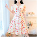 Dress Summer 2021 Decor S,M,L longuette singleton  Short sleeve Sweet Doll Collar High waist Decor Socket A-line skirt routine Others Type A Other / other Splicing 31% (inclusive) - 50% (inclusive) Chiffon other Countryside