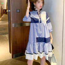 Women's large Summer 2020, spring 2020 Color matching 2XL,3XL,4XL,5XL,6XL,7XL Dress singleton  commute easy moderate Socket Long sleeves Decor Korean version V-neck polyester other Hengni Asymmetry 51% (inclusive) - 70% (inclusive) Middle-skirt Ruffle Skirt
