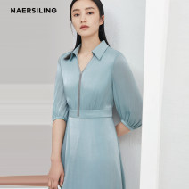 Dress Spring 2021 Pale Turquoise  S M L XL XXL longuette singleton  elbow sleeve commute V-neck High waist other Socket A-line skirt routine 35-39 years old Type A NAERSILING Ol style Three dimensional decoration LF03476K1 More than 95% polyester fiber Polyester 100%