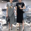 Dress Summer of 2019 Black, gray, pure white T-shirt M,L,XL,2XL,3XL,4XL longuette singleton  Short sleeve commute Crew neck middle-waisted Cartoon animation Socket routine Others 18-24 years old Type H Korean version printing 91% (inclusive) - 95% (inclusive) other polyester fiber