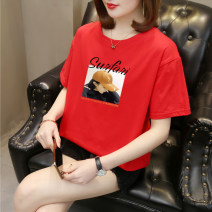 T-shirt White, black, pink, red, yellow, green, purple, pure white T-shirt S,M,L,XL,2XL,3XL Summer 2021 Short sleeve Crew neck easy Regular routine commute cotton 96% and above 18-24 years old Korean version letter 3D, printing