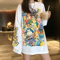 T-shirt White, black, long sleeve white T-shirt M,L,XL,2XL Autumn of 2019 Long sleeves Crew neck easy Medium length routine commute polyester fiber 96% and above 18-24 years old Korean version Funny