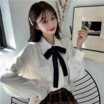 shirt White shirt, white shirt + bow, plush white shirt, plush white shirt + bow S,M,L,XL,2XL,3XL,4XL Autumn 2020 other 91% (inclusive) - 95% (inclusive) Long sleeves Sweet Regular Polo collar Single row multi button routine Solid color 18-24 years old Straight cylinder Lace up, pocket, button