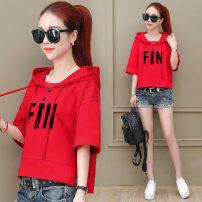 T-shirt M L XL XXL XXXL Summer of 2018 Short sleeve Hood easy Super short routine commute cotton 51% (inclusive) - 70% (inclusive) 25-29 years old Korean version letter Ona lady Printed pocket stitching lace up Cotton 68% polyester 32% Pure e-commerce (online only)