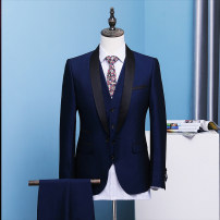 Suit Fashion City Others navy blue 4xl L S M XL 2XL 3XL routine No slits Baling collar Four seasons Self cultivation A single breasted button wedding 2017