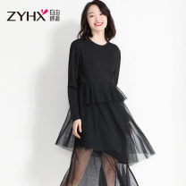 Dress Autumn of 2019 Gray, black M,L,XL,XXL Mid length dress singleton  Long sleeves Sweet Crew neck Loose waist Solid color other Irregular skirt routine Others 25-29 years old Free breath Z9Q0072CK cotton