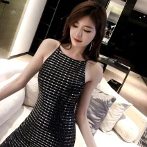 Dress Summer of 2019 black S M L Short skirt singleton  Sleeveless commute One word collar High waist Solid color zipper One pace skirt other camisole 25-29 years old T-type Misty rain like a poem Korean version Open back with zipper More than 95% other polyester fiber Pure e-commerce (online only)