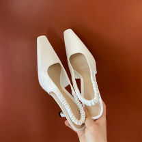 Sandals 33,34,35,36,37,38,39,40 White milk top layer leather Baotou Fine heel High heel (5-8cm) Summer 2021 Trochanter Simplicity Solid color Adhesive shoes Youth (18-40 years old), middle age (40-60 years old) TPR (tendon) daily Rear trip strap Thick heel Low Gang Hollow Pig skin Sheepskin