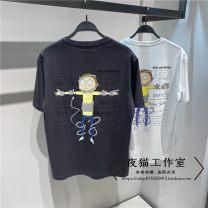T-shirt Youth fashion Black, white routine S,M,L,XL,2XL Peacebird Short sleeve Crew neck easy daily summer B2DAB2166 tide 2021 washing