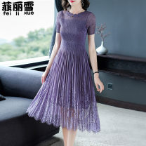 Dress Summer of 2019 Light blue, pink, purple, red M,L,XL,2XL Mid length dress singleton  Short sleeve commute Crew neck middle-waisted Solid color Socket Pleated skirt routine Others Type A Other / other Retro fold 30% and below Lace nylon