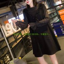 Dress Spring 2021 black Mid length dress singleton  Long sleeves Type A