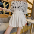skirt Summer 2020 S,M,L,XL,2XL White, black, pink Versatile Natural waist Umbrella skirt Solid color Type A Chiffon Other / other Cellulose acetate Bow tie