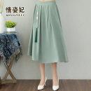 skirt Summer 2021 Average size green Mid length dress commute Natural waist A-line skirt QZF21B207702 51% (inclusive) - 70% (inclusive) Love Princess cotton pocket Retro Cotton 65% flax 35% Pure e-commerce (online only)