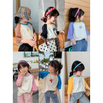 T-shirt Other / other 80, 90, 100, 110, 120, 130, 140, 150 female spring and autumn Short sleeve Crew neck leisure time There are models in the real shooting nothing other Cartoon characters 18 months, 2 years old, 3 years old, 4 years old, 5 years old, 6 years old, 7 years old