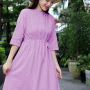 Dress Summer 2020 Taro purple M,L,XL,2XL Mid length dress singleton  elbow sleeve commute Crew neck High waist Solid color Single breasted A-line skirt routine 35-39 years old Type A Other / other literature Button, solid color Purple linen dress 51% (inclusive) - 70% (inclusive) brocade hemp
