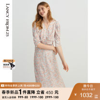Dress Spring 2021 Halite Pink 155/76A/S 160/80A/M 165/84A/L 170/88A/XL 175/92A/XXL longuette singleton  three quarter sleeve V-neck middle-waisted Big flower other 35-39 years old Lance from 25 Button XXLCCA18WOP016AA More than 95% polyester fiber Polyester 100%
