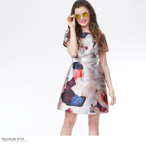 Dress Spring 2016 S M L Short skirt singleton  Short sleeve commute Crew neck middle-waisted Abstract pattern Socket routine 25-29 years old Type A Bellville / bellavera Ol style Pocket zipper print More than 95% polyester fiber Polyester 100%