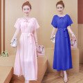 Dress Spring 2021 Shrimp Pink (with natural color belt), red (with natural color belt), purple (with natural color belt), blue (with natural color belt) S,M,L,XL,2XL Short sleeve Crew neck Solid color routine 25-29 years old