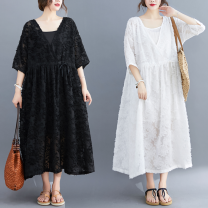 Women's large Summer 2021 White, black L [100-150 Jin recommended], XL [150-200 Jin recommended] Dress Two piece set commute easy moderate Socket elbow sleeve Solid color literature V-neck Medium length routine Other / other 51% (inclusive) - 70% (inclusive) longuette