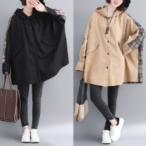Women's large Autumn of 2018 Yellow, black Large L [110-180 Jin], large XL [180-250 Jin] Jacket / jacket singleton  commute easy thickening Cardigan Long sleeves Solid color Korean version Hood Medium length cotton Collage other Other / other pocket