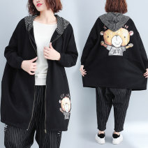 Women's large Autumn of 2018, winter of 2018 black One size fits all Sweater / sweater singleton  commute easy thick Cardigan Long sleeves Cartoon animation Korean version Hood Medium length cotton printing and dyeing