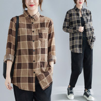 Women's large Spring 2021 Grey, light brown L [recommended 90-120 kg], XL [recommended 120-140 kg], XXL [recommended 140-170 kg] shirt singleton  commute easy moderate Cardigan Long sleeves lattice literature Polo collar routine cotton routine Other / other 25-29 years old Button