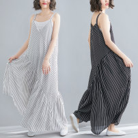 Women's large Summer of 2019 White, black L [100-150 Jin], XL [150-200 Jin] trousers singleton  commute easy moderate Socket Sleeveless stripe literature polyester Three dimensional cutting Other / other Asymmetry trousers
