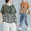 Women's large Summer 2020 Army green, camel L [recommended 100-160 kg], XL [recommended 160-210 kg] shirt singleton  commute easy Socket Short sleeve lattice literature Crew neck routine Other / other