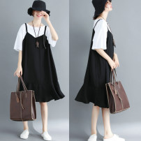 Women's large Summer 2021 black XL [recommended 100-145 kg], XXL [recommended 145-190 kg] Dress Fake two pieces commute easy thin Socket Short sleeve literature Crew neck Medium length polyester fiber Three dimensional cutting routine Other / other 71% (inclusive) - 80% (inclusive)