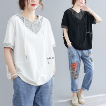 T-shirt White, black M [recommended 100-130 kg], l [recommended 130-160 kg], XL [recommended 160-190 kg] Summer 2020 Short sleeve Hood easy Regular routine commute cotton 71% (inclusive) - 85% (inclusive) 25-29 years old literature literature letter Other / other Splicing