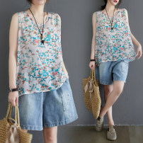 T-shirt Smashed flower vest Large size average size [100-180 Jin recommended] Summer of 2019 Sleeveless Crew neck Regular routine commute cotton 51% (inclusive) - 70% (inclusive) literature literature Plants and flowers Other / other