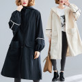 Women's large Autumn of 2019 White, black One size fits all [110-220 kg recommended] Windbreaker singleton  commute easy moderate Cardigan Long sleeves Solid color Korean version Hood Medium length Other / other