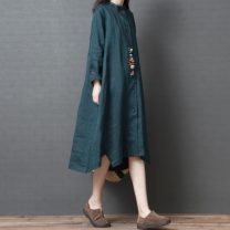 Women's large Autumn of 2019 M [suggested 90-110 kg], l [suggested 110-125 kg], XL [suggested 125-140 kg], XXL [suggested 140-170 kg] shirt singleton  commute easy Cardigan Long sleeves Solid color Korean version other Medium length hemp routine Other / other 25-29 years old pocket longuette